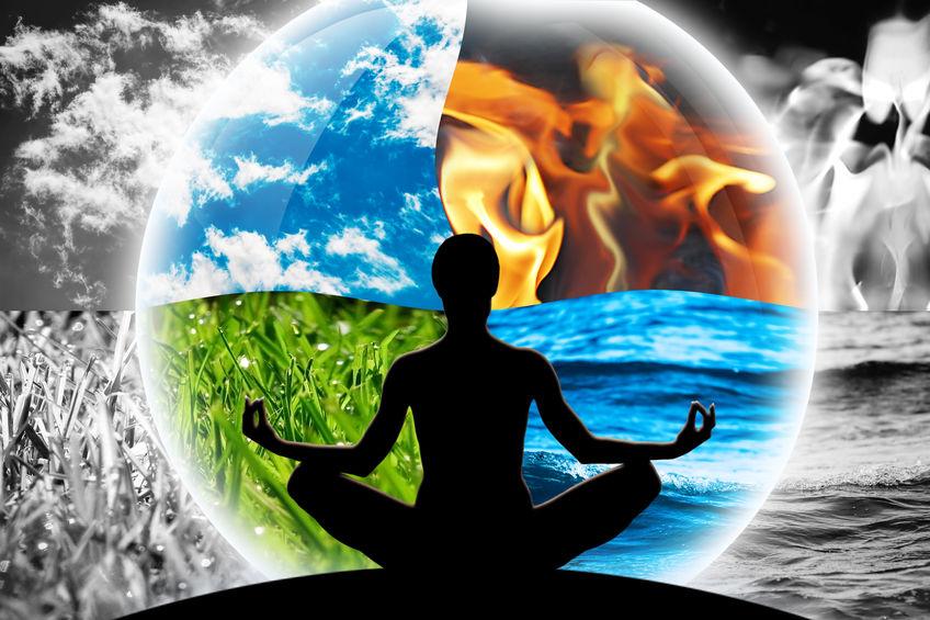 De elementen, aarde, lucht, vuur en water